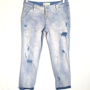 Free People Distressed Tie Dye Jeans Button Fly 0